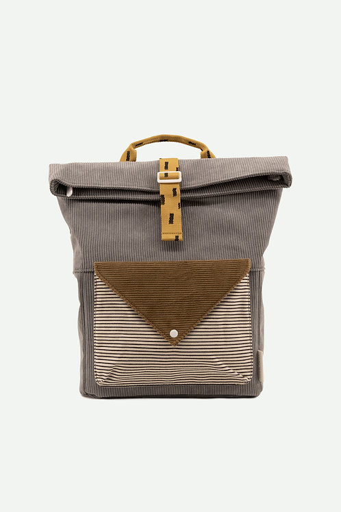 large backpack corduroy | pigeon blue + woody green + panache gold