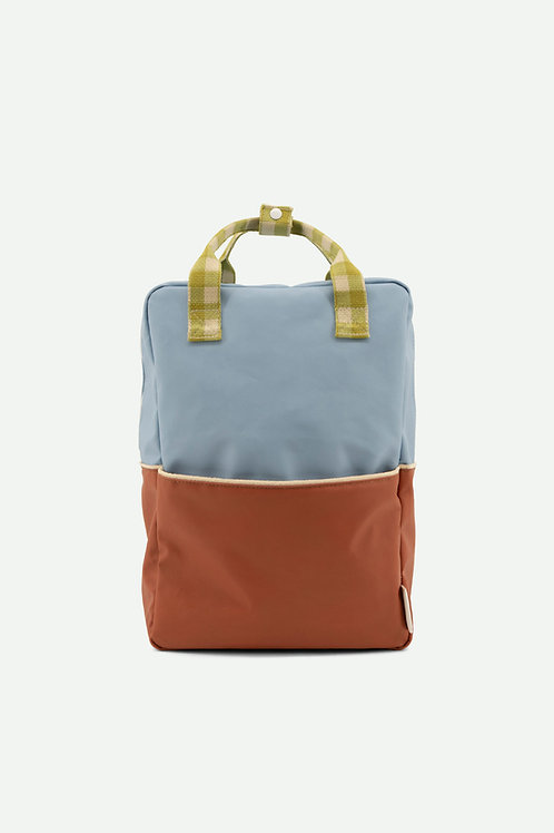 large backpack | colourblocking | blue berry + willow brown + pear green