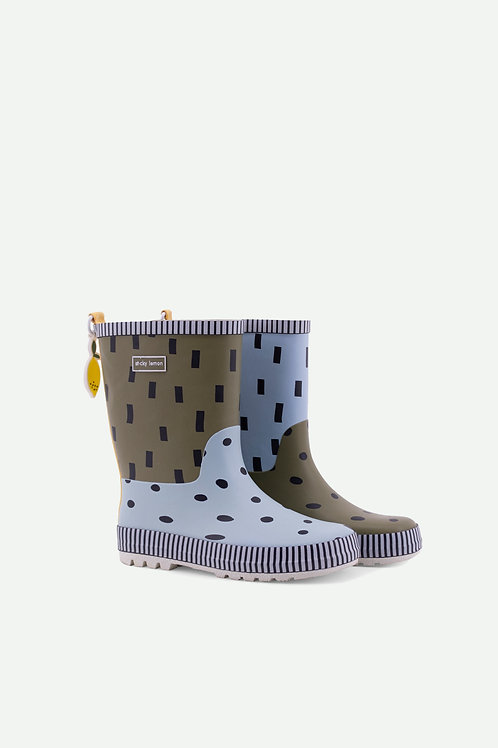 rain boots | seventies green + sky blue + retro yellow