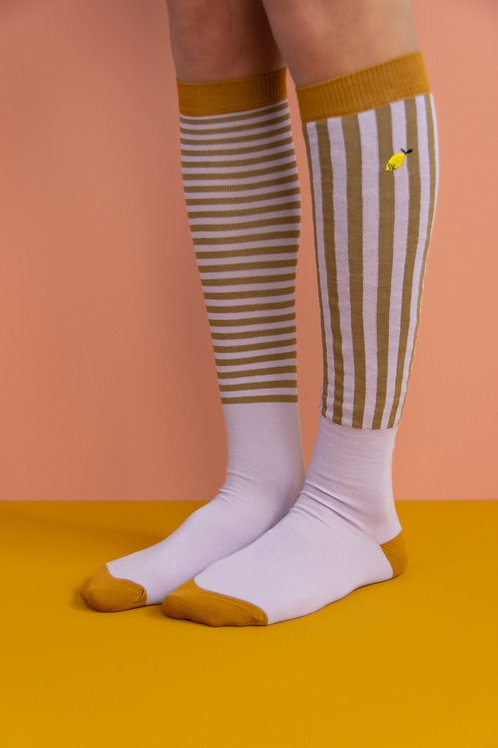 knee high socks | stripes | violet