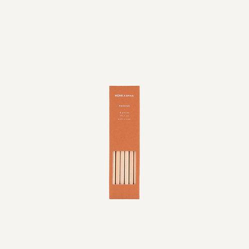 Pencils • blank wood • rust