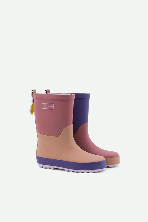 rainboots | three tones | hotel brick + chocolat au lait + lobby purple