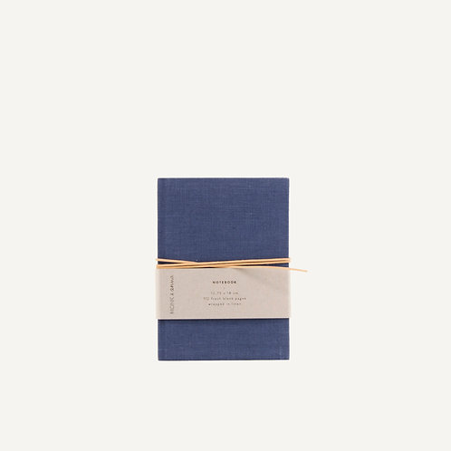 Notebook S • dyed linen • midnight blue