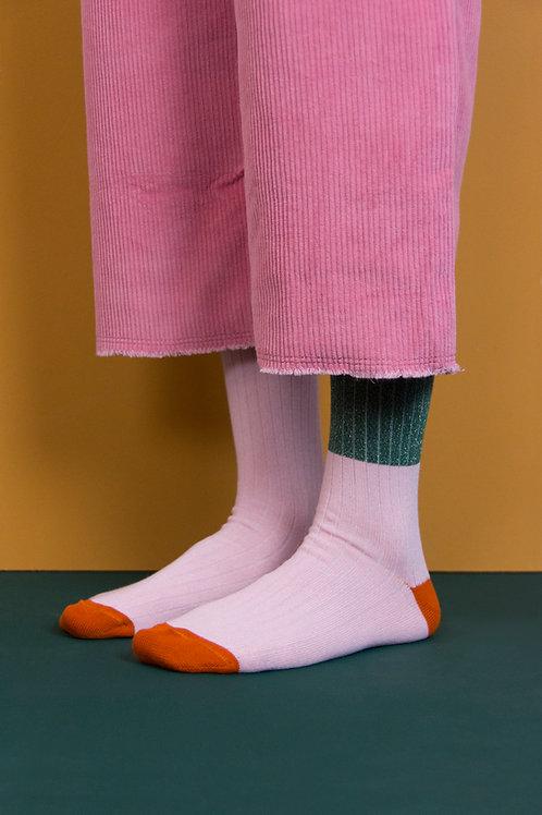knee high socks | glitter | bottle green + soft pink