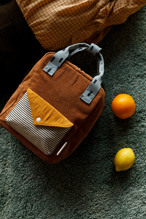 small backpack corduroy | walnut brown + marigold + steel blue