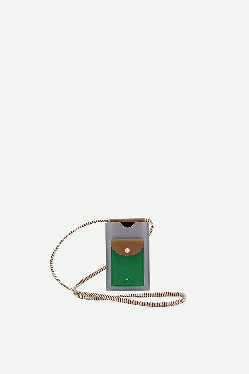phone pouch | xl | steel blue + brassy green + apple green