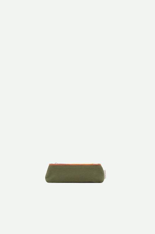 pencil case freckles | seventies green + faded orange
