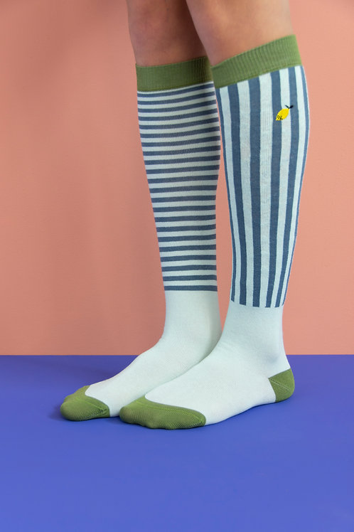 knee high socks | stripes | misty green