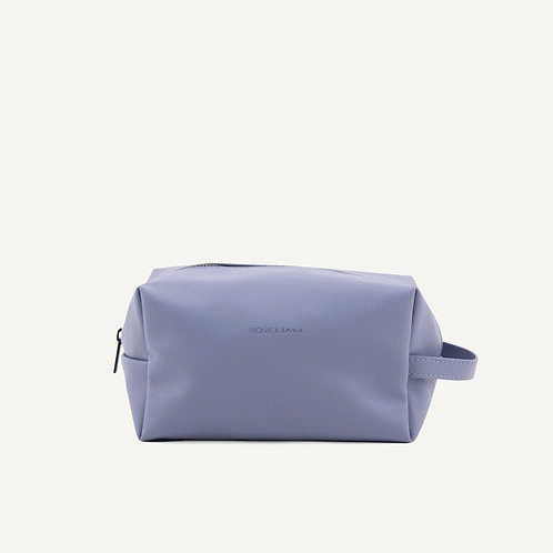 Toiletry bag • pebbled pu • faded blue