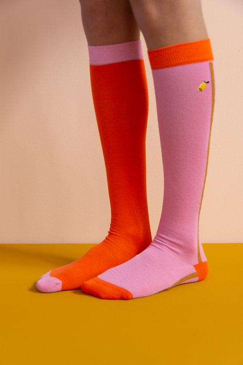 knee high socks | colourblocking | puff pink + royal orange
