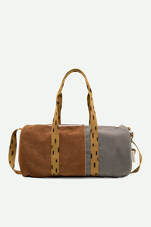 large duffle bag corduroy | walnut brown + pigeon blue + panache gold