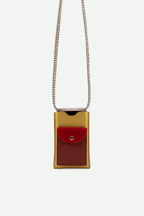 phone pouch   xl   coloré   biscotti beige + brick red + poppy red