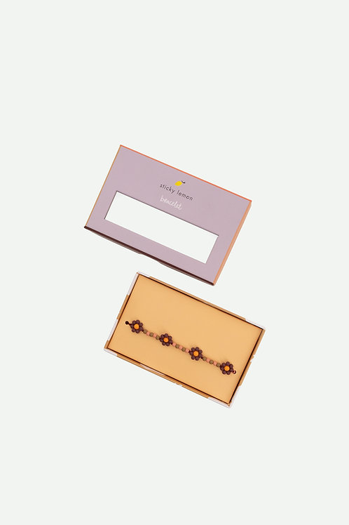 bracelet | daisy | cherry red + daisy yellow