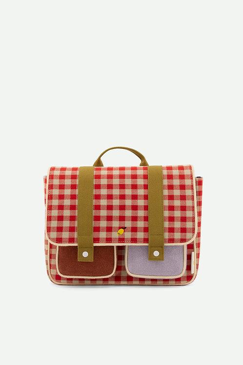 school bag   gingham   poppy