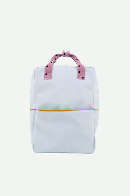 large backpack freckles | sky blue + pirate purple + caramel fudge