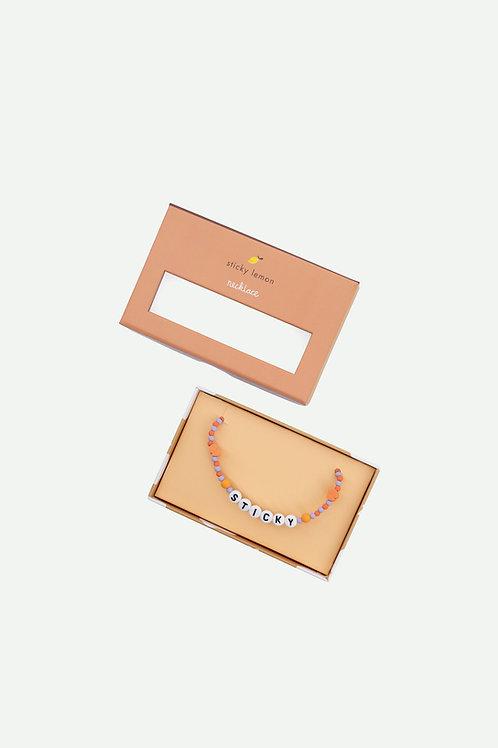 necklace | sticky | mauve lilac + orange juice