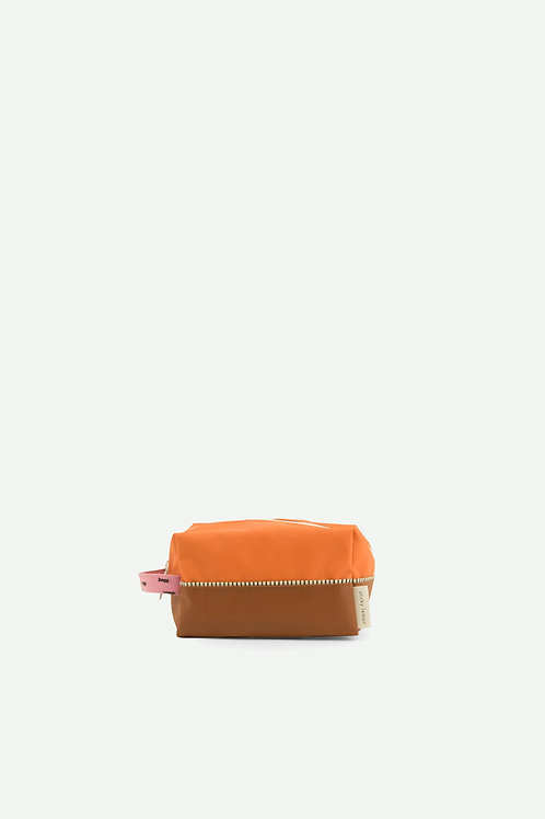 toiletry bag sprinkles |  carrot orange + syrup brown + bubbly pink