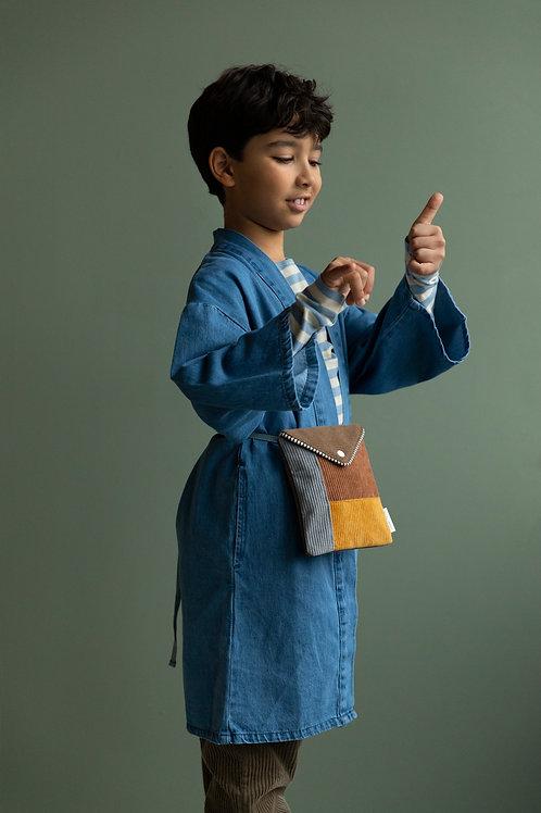 wallet bag | woody green + walnut brown + marigold + pigeon blue
