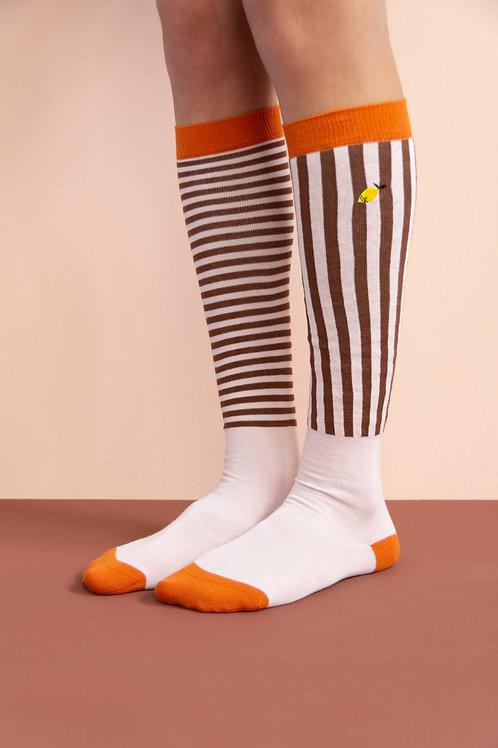 knee high socks | stripes | peony pink