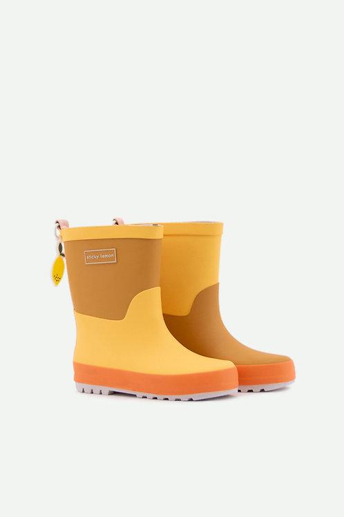 rain boots | retro yellow + caramel fudge + carrot orange