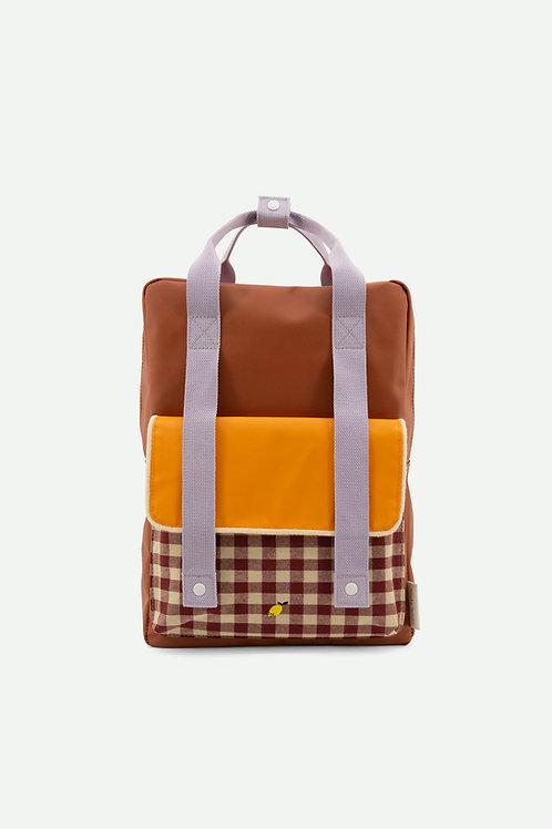 backpack large | gingham | chocolate sundae + daisy yellow + mauve lilac