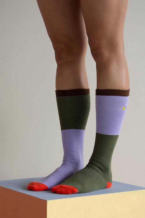 Knee high socks | colourblocking |  leaf green + mauve lilac