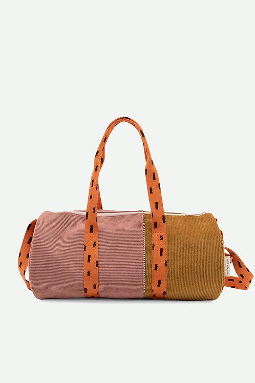 large duffle bag corduroy   dusty pink + dijon + carrot orange