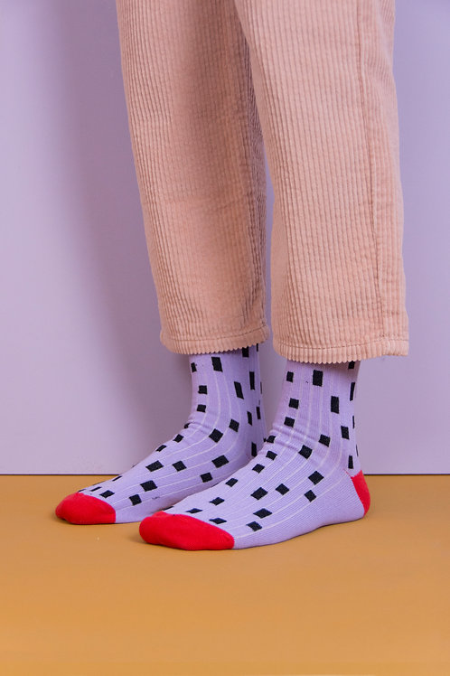 knee high socks | hagelslag | lavender + sporty red