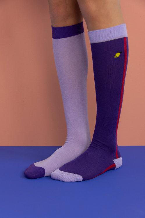 knee high socks | colourblocking | lobby purple + moustafa purple
