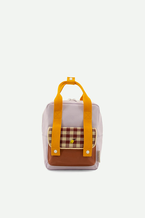 backpack small   gingham   chocolate sundae + daisy yellow + mauve lilac