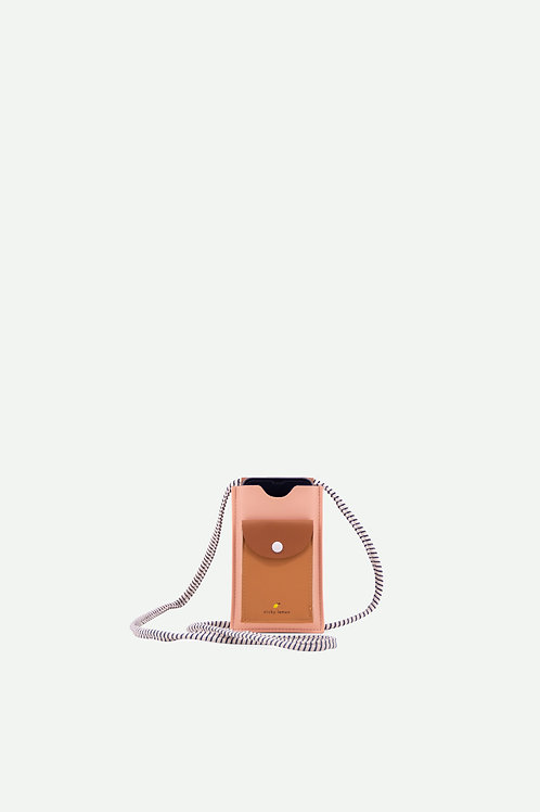 phone pouch   9 x 15cm   lemonade pink + cinnamon brown + apricot orange