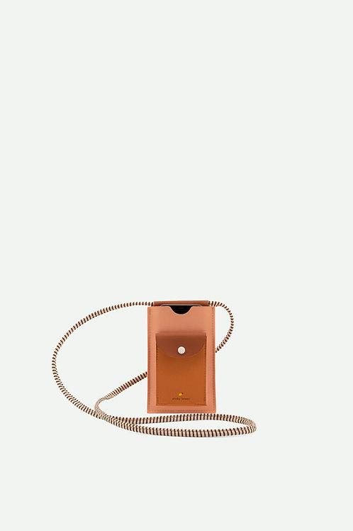 phone pouch | xl | lemonade pink + cinnamon brown + apricot orange