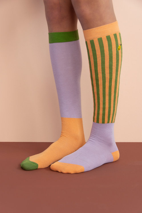 knee high socks | deluxe | gustave lilac + concierge orange