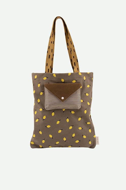 tote bag corduroy | pigeon blue + woody green + panache gold