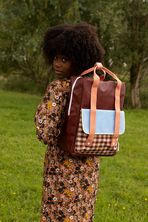 backpack large   gingham   cherry red + sunny blue + berry swirl