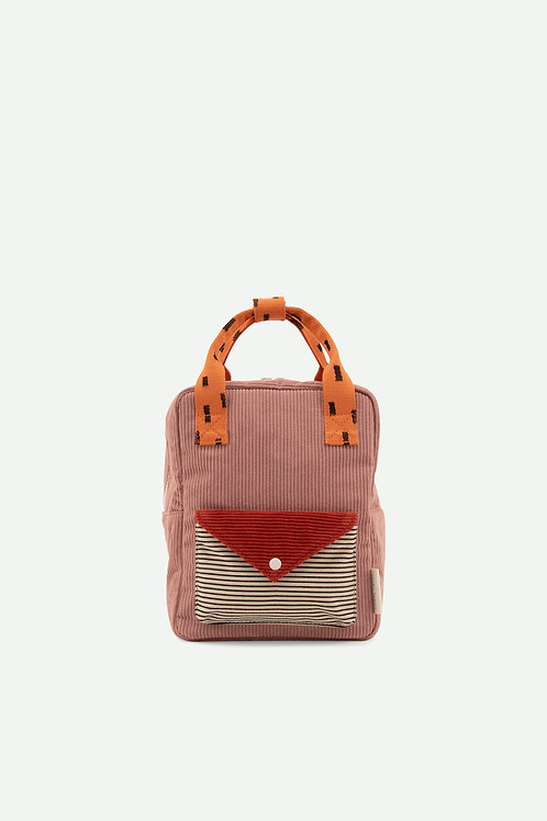 small backpack corduroy | dusty pink + marmalade + carrot orange