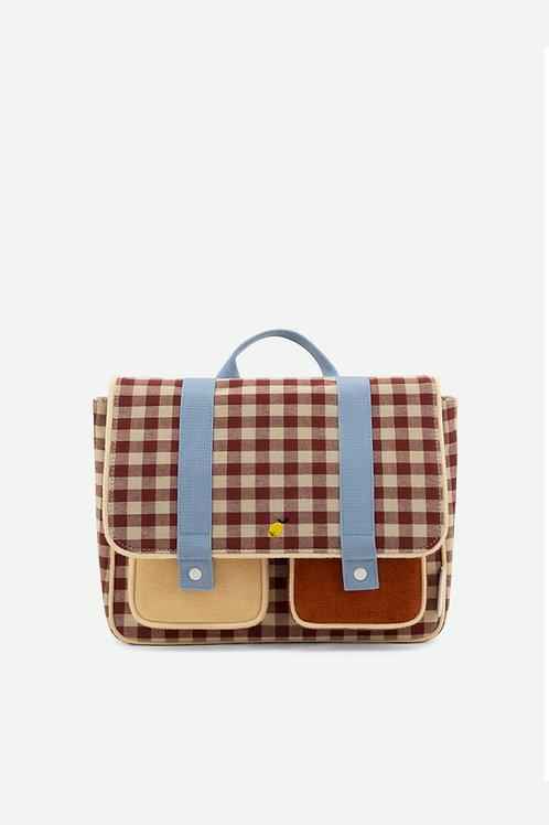 school bag | gingham | grape