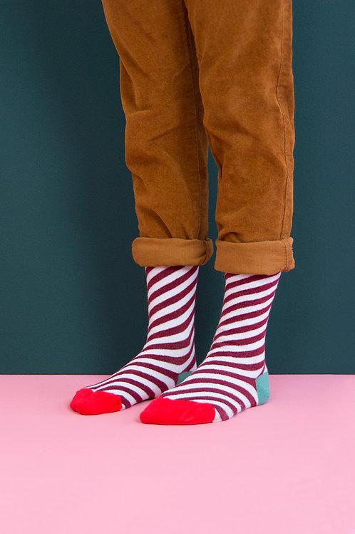 knee high socks | diagonal stripes | eggplant + powder blue