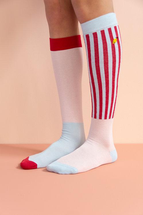 knee high socks | deluxe | mendl's pink + agatha blue