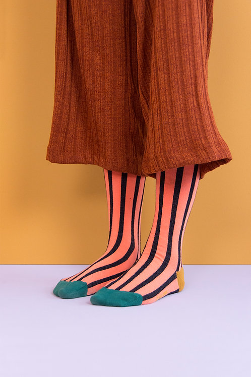 knee high socks | vertical stripes | peachy pink