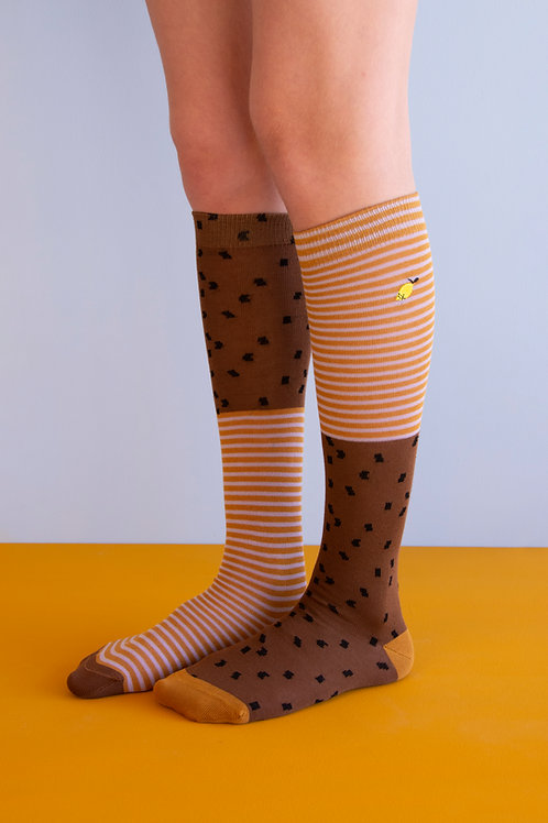 knee high socks | sprinkles | cinnamon brown