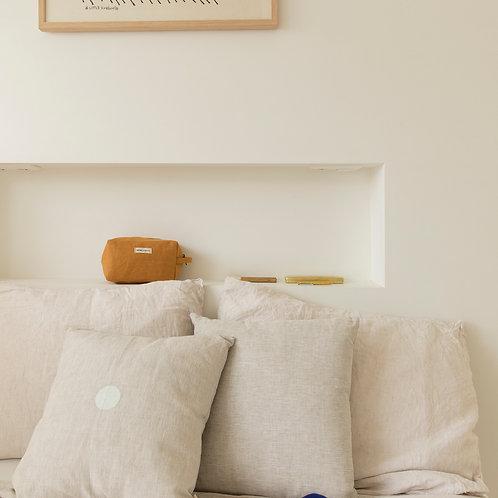 Cushion • natural linen • white dot