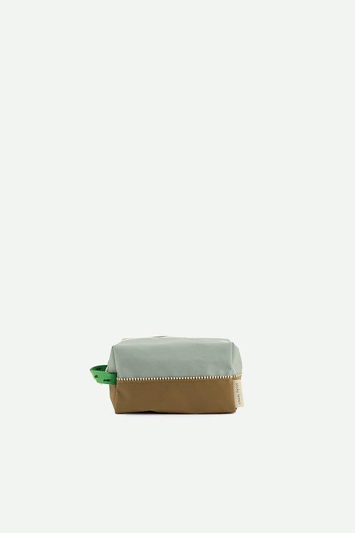 toiletry bag sprinkles |  steel blue + apple green + brassy green