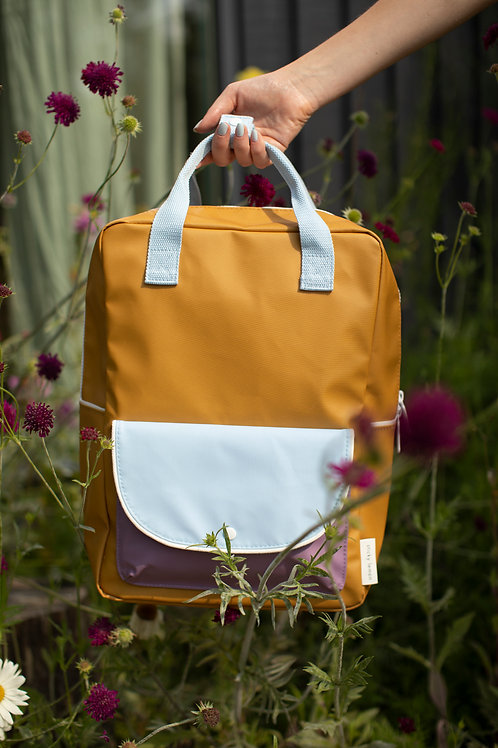 large backpack wanderer | caramel fudge + sky blue + pirate purple