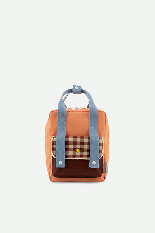 backpack small | gingham | cherry red + sunny blue + berry swirl