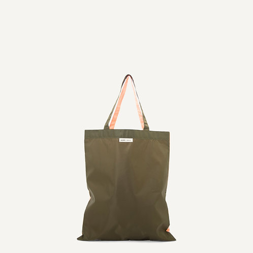 Anna shopper • nylon • forest green & soft pink