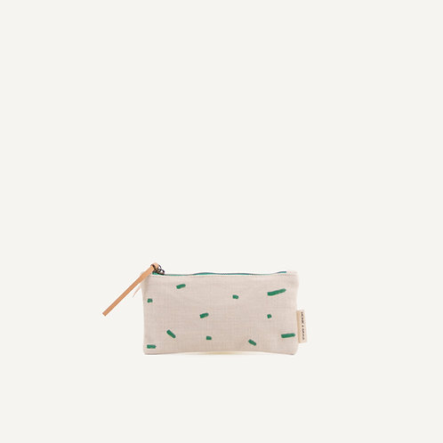 Kodomo pencilcase • emerald green stripes