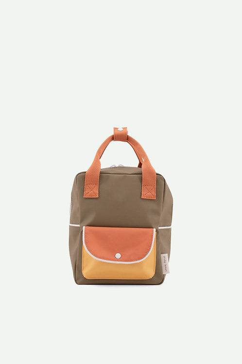 small backpack wanderer | seventies green + faded orange + retro yellow
