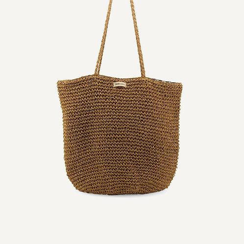 Tsue straw bag • check