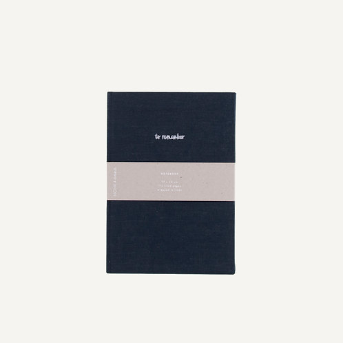 Notebook L • washed linen • midnight blue